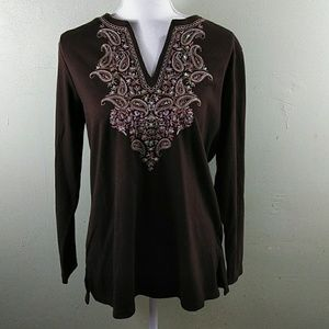 Brown Long Sleeved Top with Embroidered Bodice M